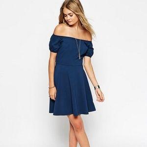 ASOS Navy Blue A Line Off the Shoulder Dress